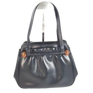 Vtg Black Leather Snap Closure Handbag Purse